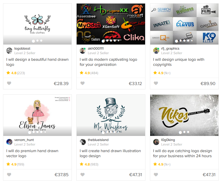 Fiverr logo design category results page