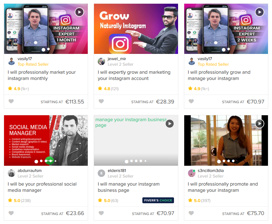 Fiverr Social Media Marketing category results page