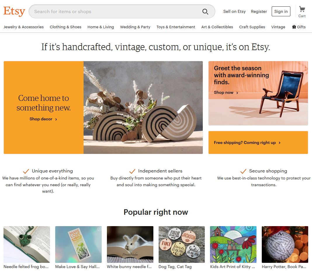 Screenshot of the Etsy homepage