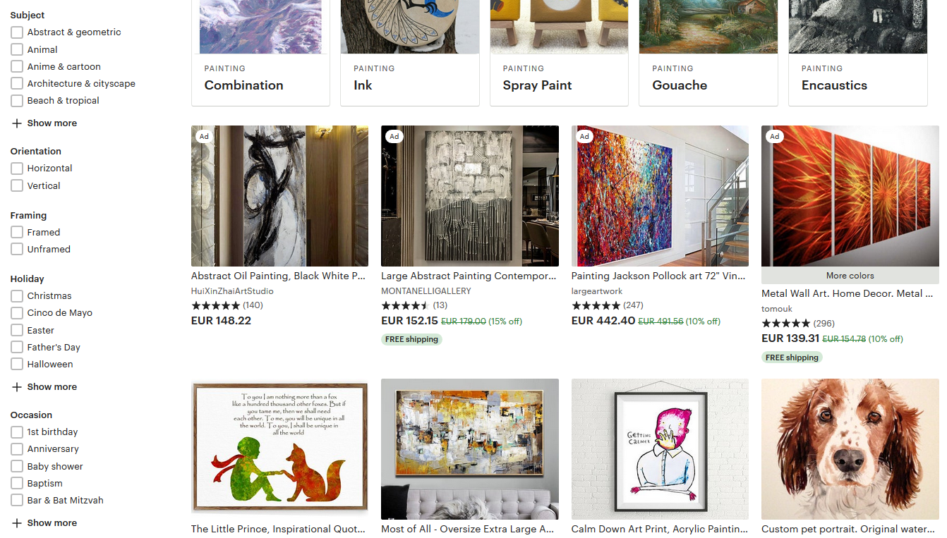 Screenshot of the Etsy paintings product page